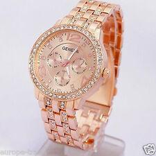 Womens Fashion Geneva Crystal Bracelet Wrist Watch Rose Gold Designer Style