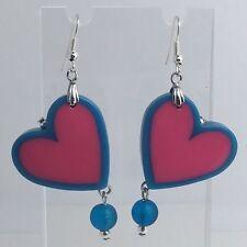 Blue Pink Large Heart Dangle Resin Glass Earrings E064 Kitsch Fun 6.5cm Long