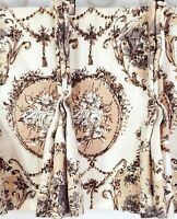 2 Vtg Valances Toile French Provincial Shabby Cottage Pinch Pleat Curtains 42 45