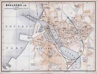 62 Boulogne-sur-Mer 1894 pt. plan ville orig. + guide angl. (4 p.) gare maritime