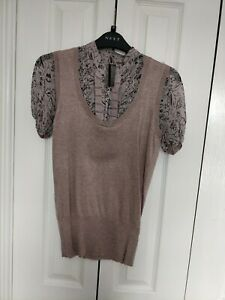 Ladies Blouse Top In Taupe With Chiffon Sleeves And Ribbon Detail size 8