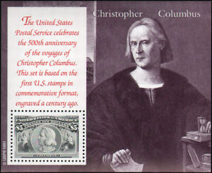 US #2624-2629 MNH 6 souvenir panes with envelope, Voyages of Columbus