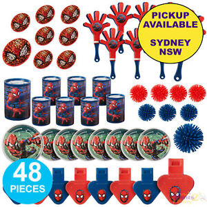 SPIDERMAN PARTY SUPPLIES 48pc FAVOURS SUPERHERO BIRTHDAY LOOT BAG TOY FILLERS