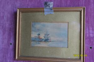 Watercolour Painting - Windmill & Sail Boat.
