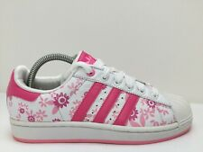 Adidas Superstar 019784 White Floral Leather Trainers Gym Sports Women Size UK 6