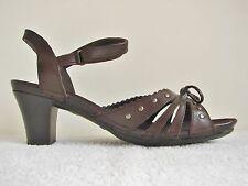 "Rieker Dark Brown Leather Slingback Sandal Size 40 UK 6.5 Mid/High 3 "" Heel"
