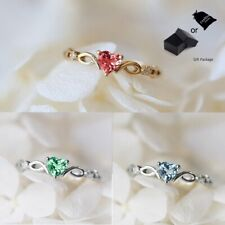 Cubic Zirconia Heart Ring Lady Jewelry (White) Gold Plated