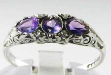 DIVINE 9K 9CT WHITE GOLD AMETHYST DIAMOND ART DECO INS RING FREE RESIZE