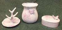 Vintage 3 piece porcelain pink & white floral butterfly vanity set MINT