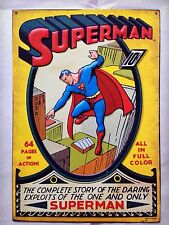 DC Comics SUPERMAN Issue #1 - 3D Decorative Tin Metal Vintage Wall Art Decor