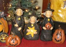 SET 3 resin HALLOWEEN WITCH ready for trick or treat by Honey and Me col