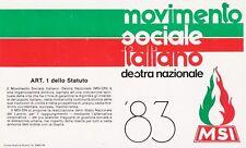Tessera 1983 Movimento Sociale MSI M.S.I perfetta