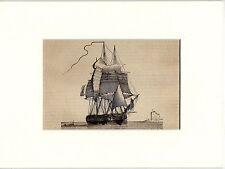 Antique matted print Frigate / sailing ship / Warship 1841 Fregatte holzstich