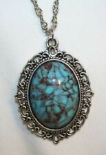 Lovely Blue Veined Marbled Glass Silvertone Necklace +++++