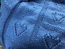 Blue handmade knitted baby afghan blanket