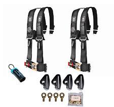 "Pro Armor 5 Point 3"" Padded Seat Harness Pair Mount Kit Bypass Black Maverick X3"