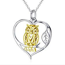 Anhänger goldene Eule im silbernen Herz Kette Sterling Silber 925