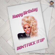 FUNNY Birthday Card RuPAUL Ru Paul Drag race Queen swear joke banter