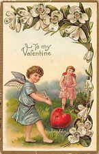 B52/ Valentine's Day Love Holiday Postcard 1910 Hampshire Illinois Arrow Cupid19