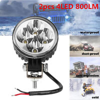 Waterproof 2pcs White 800LM Offroad Round LED Working Lights Fog Driving Light
