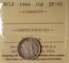 1940 - Newfoundland 10 Cents - ICCS EF-45 - serial XJL 649
