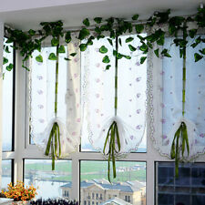 Sheer Voile Curtain Embroidered Floral Panel Cafe Kitchen Lace Window Valance LI