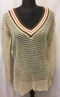 FREE PEOPLE Women's V-Neck Knit Pullover Sweater Cotton Multi Color Size Medium