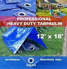 TARPAULIN WATERPROOF HEAVY DUTY 12 FT x 18 FT BUILDERS BLUE  TARP WITH EYELETS