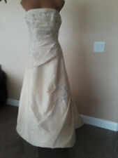 Tan Brown Wedding Dress 8 New Button Back Train Sleeveless Beaded Floral Embroid