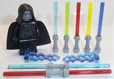 Lego Emperor Palpatine & 7 Lightsabers + lightning Weapons Star Wars Minifigure