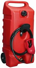 Rolling Wheel Gas Can Portable Fuel Fluid Transfer Pump 14-Gallon Tank 10ft Hose
