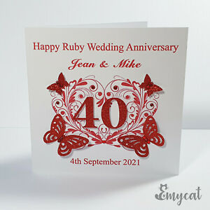 Personalised Handmade Ruby 40th Wedding Anniversary Card **Free UK P&P**