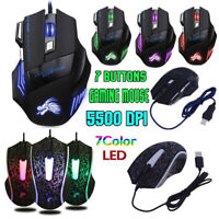 5500DPI LED Optical USB Wired Gaming Mouse 7 Buttons Mice for Pro Gamer Computer