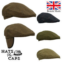 British Derby Tweed Flat Cap Waterproof Teflon Country Ear Flap Shooting Hat