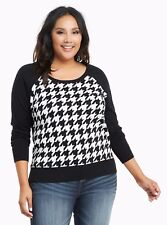 Torrid Houndstooth Pullover sweater Black Size: 0 12 0X #39643
