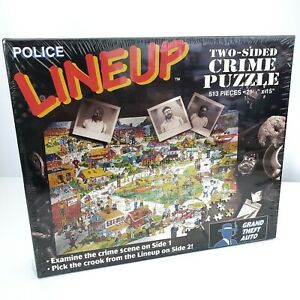 """Police Line Up Two Sided Crime Puzzle 513 Pieces 21""""x15"""" Buffalo Games Vtg 1995"""
