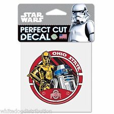 """Ohio State Buckeyes Star Wars R2D2 & C3PO 4"""" x 4"""" Perfect Cut Color Decal"""