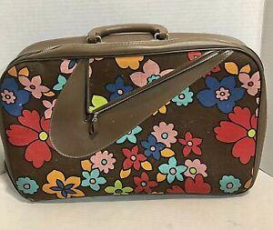 Vintage 60s 70s Kids Flower Luggage Bag Suitcase Floral Mod Hippie Damaged