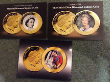 QEii new coins; lot of 3 publicity cards ; new BAILIWICK OF JERSEY, COOK ISLANDS
