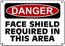 "Danger Sign - Face Shield Required In This Area - 10""x14"" Aluminum OSHA Sign"
