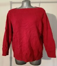M&S Fushia Red Pink Knit Jumper Boat Neck Plus Size 18 Cotton Long Sleeve