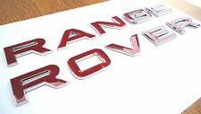 NEW RED RANGE ROVER CHROME EDGE 3D LETTERING BONNET TAILGATE BADGE LOGO