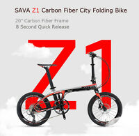 Sava Z1 Folding Bike 20'' T700 Carbon Fiber Frame Mini Compact Foldable 9 S