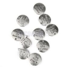 10 Tibetan Silver Round Charms Pendants For Necklace Bracelet Jewelry Making