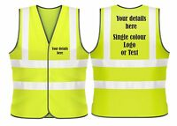 Hi Visibilty Vest Waistcoat Safety Personalised custom printed high visibility