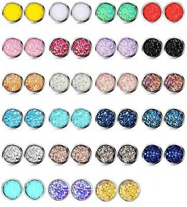 10mm 12mm faux Druzy Geode Large Stud Earrings Hypo Stainless Iridescent Glitter