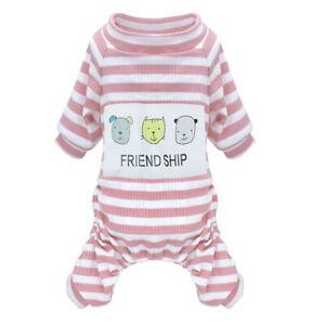 Dog Pajamas Pet Puppy Clothes Jumpsuit Warm Dog Apparel Soft Cotton Costume Pink