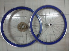 COUPLE WHEELS FIXED FIXED GEAR A 36 RAYS COLOR BLUE PROFILE 40mm