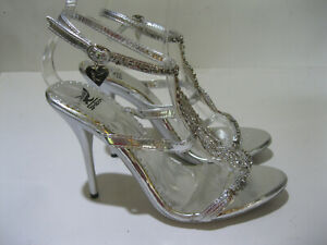 """New Silver Rhinestone 4.5"""" High Heel Shiekh Shoes Strappy Ankle WOMEN Size 10"""