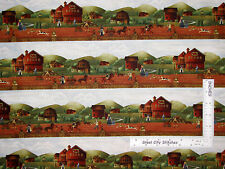 Barn House Store Border Stripe Cotton Fabric Windham 41274 Country Store - Yard